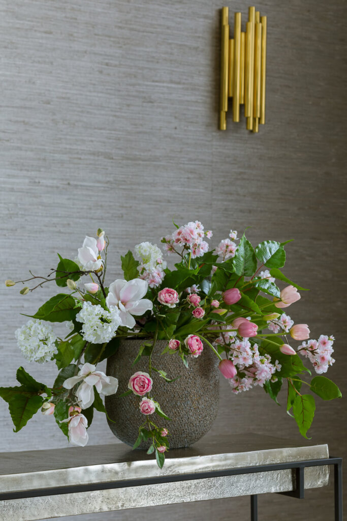 composition of spring artificial flowers
